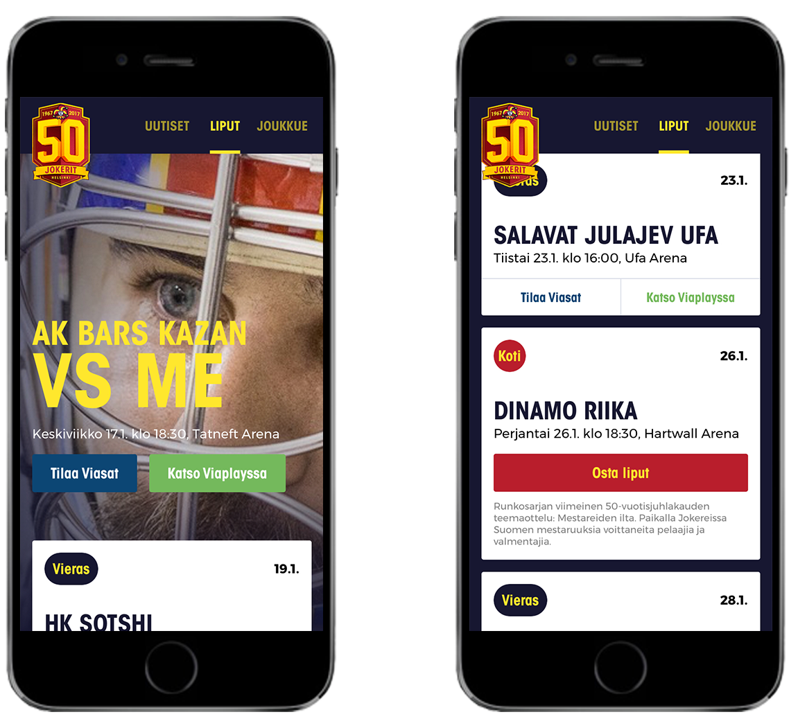 Two images of mobile phone with Jokerit app screens